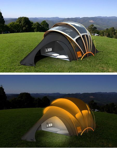 solar tent made from solar fabric