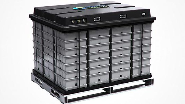 An Aqueous Hybrid Ion battery roughly the size of a dishwasher