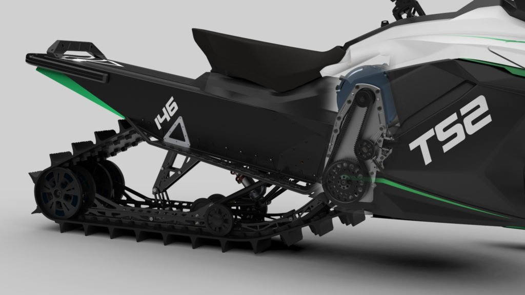 Taiga electric snowmobile drivetrain
